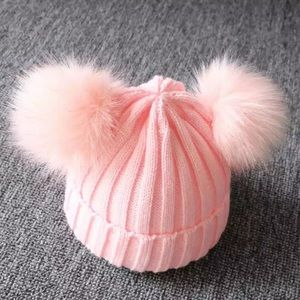 Pink Knitted Baby girl 2 Pom poms beanie